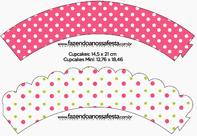 Pink, Green and White Polka Dots Free Printable Wrappers Cupcake.