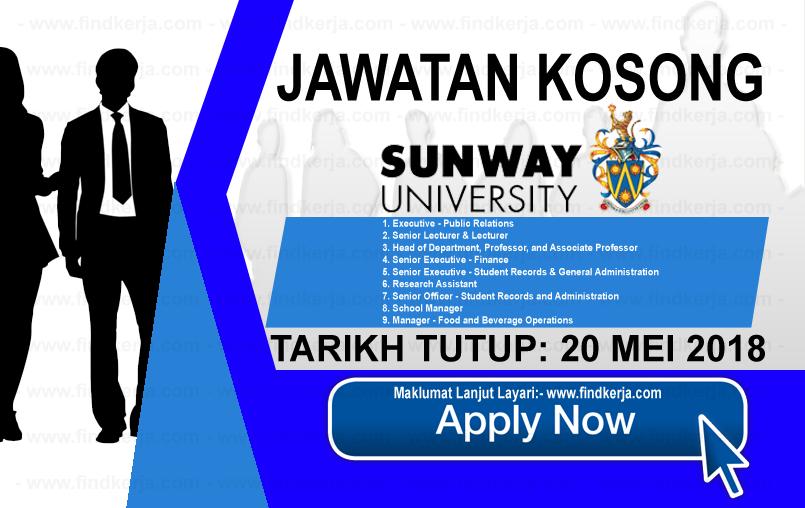 Jawatan Kerja Kosong Sunway University logo www.findkerja.com mei 2018
