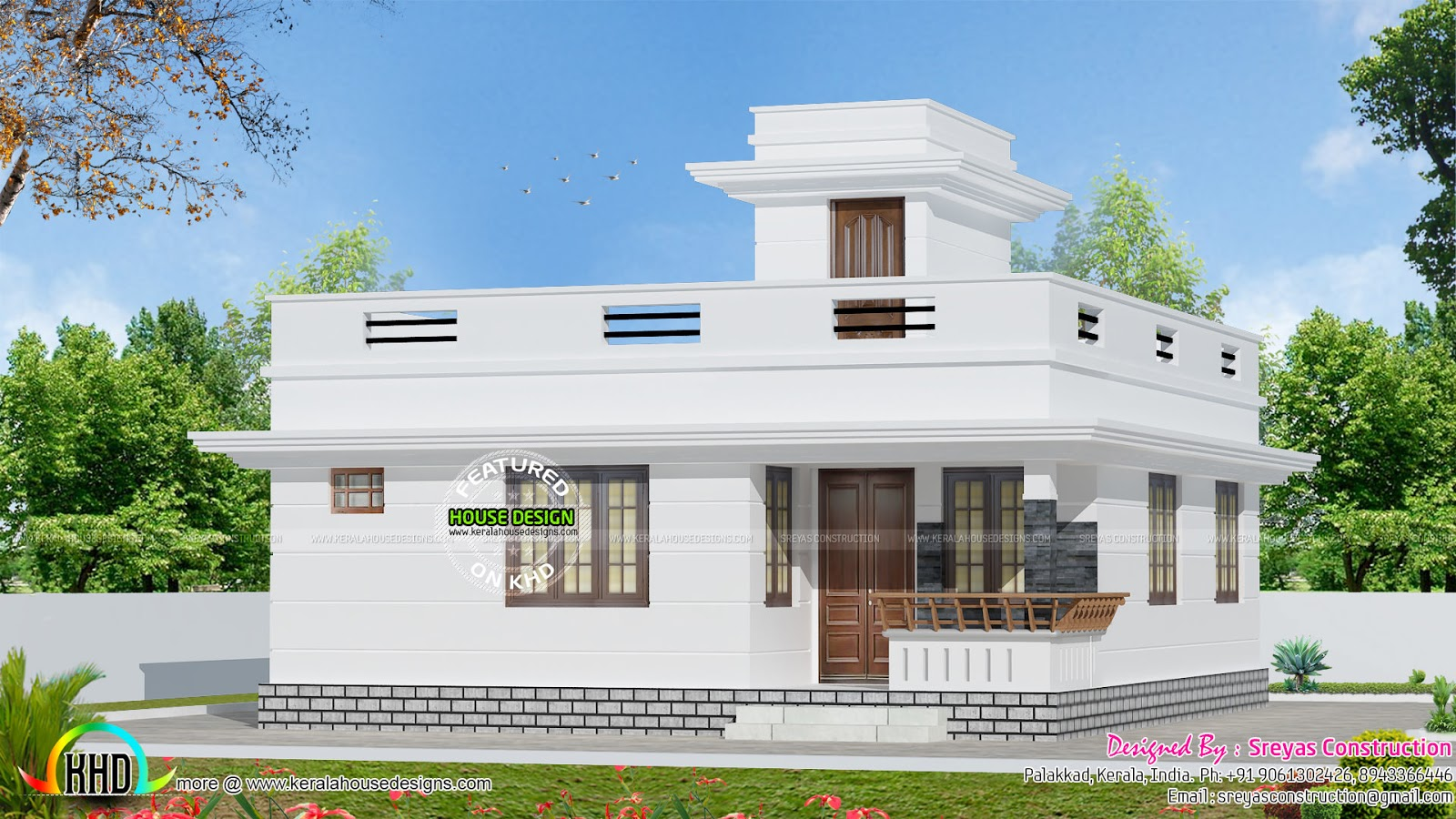 882 sq ft small house architecture kerala home design for One floor house exterior design
