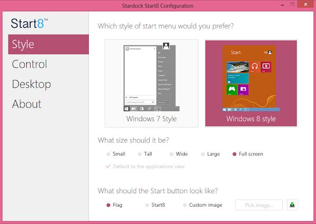 Start8 Software Untuk Menambahkan Tombol Start di Windows 8