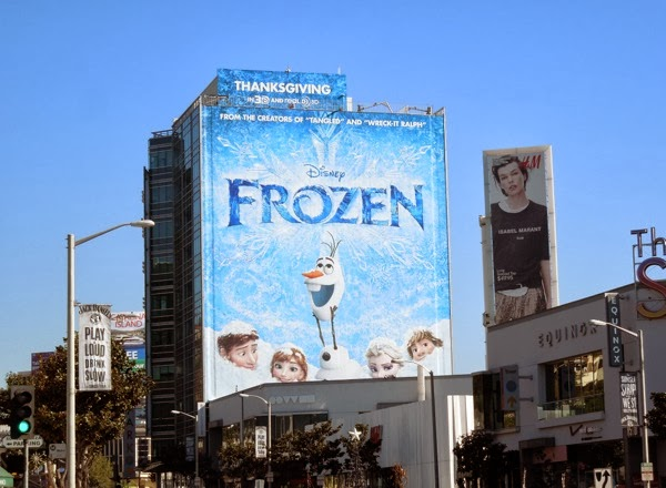 Giant Disney Frozen billboard Sunset Strip