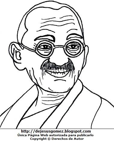 Imagen de Mahatma Gandhi para colorear, pintar e imprimir. Dibujo de Mahatma Gandhi de Jesus Gómez
