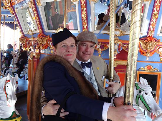 Disneyland Pendleton Dapper Day carousel 1940s