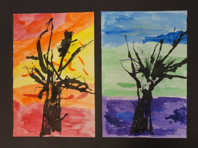 Ink Blown Trees On Warm And Cool Backgrounds