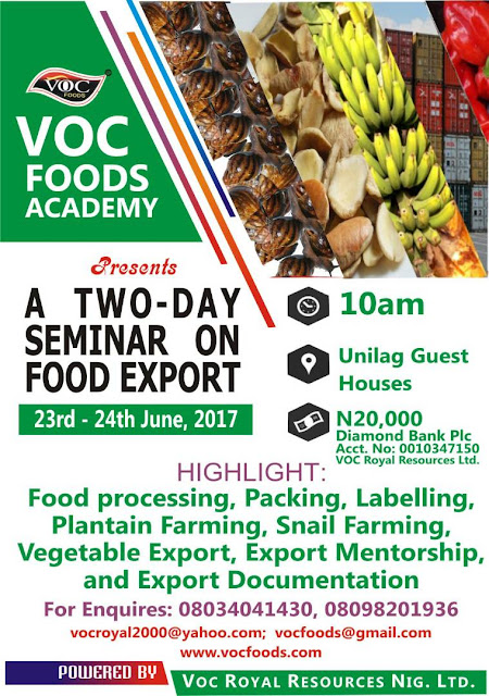 A TWO DAYS SEMINAR ON FOOD EXPORT FOR STUDENTS AND NON-STUDENT