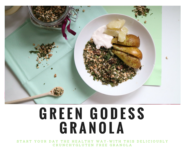 Healthy, green, vegan, tasty, quick, easy, recipe, granola, cashew, kale, oats, dates