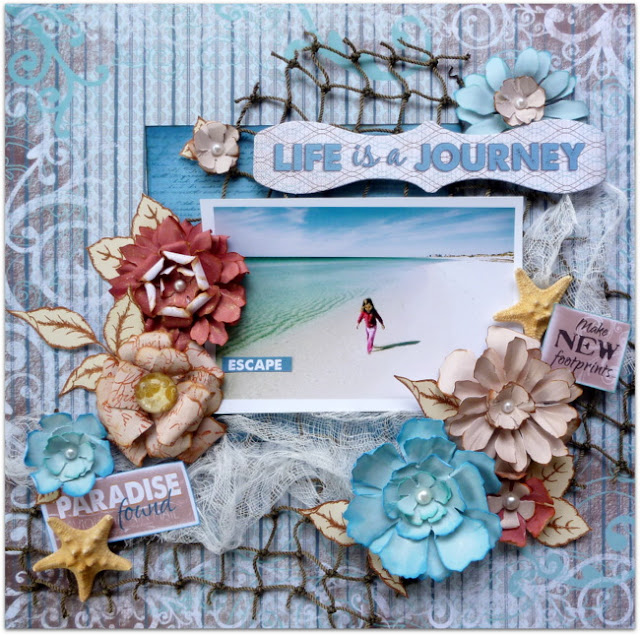 Beach Layout with Handmade Flowers, Stamped Leaves, and Star Fish