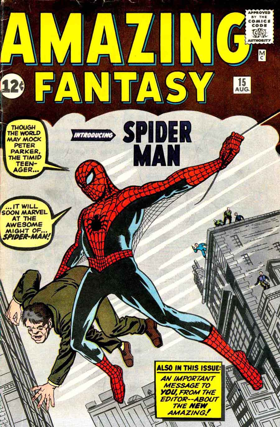 Amazing Fantasy v1 #15 marvel 1960s silver age comic book cover art by Jack Kirby and Steve Ditko