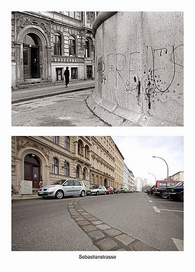 Sebastianstrasse antes y despues de la caida del muro de Berlin