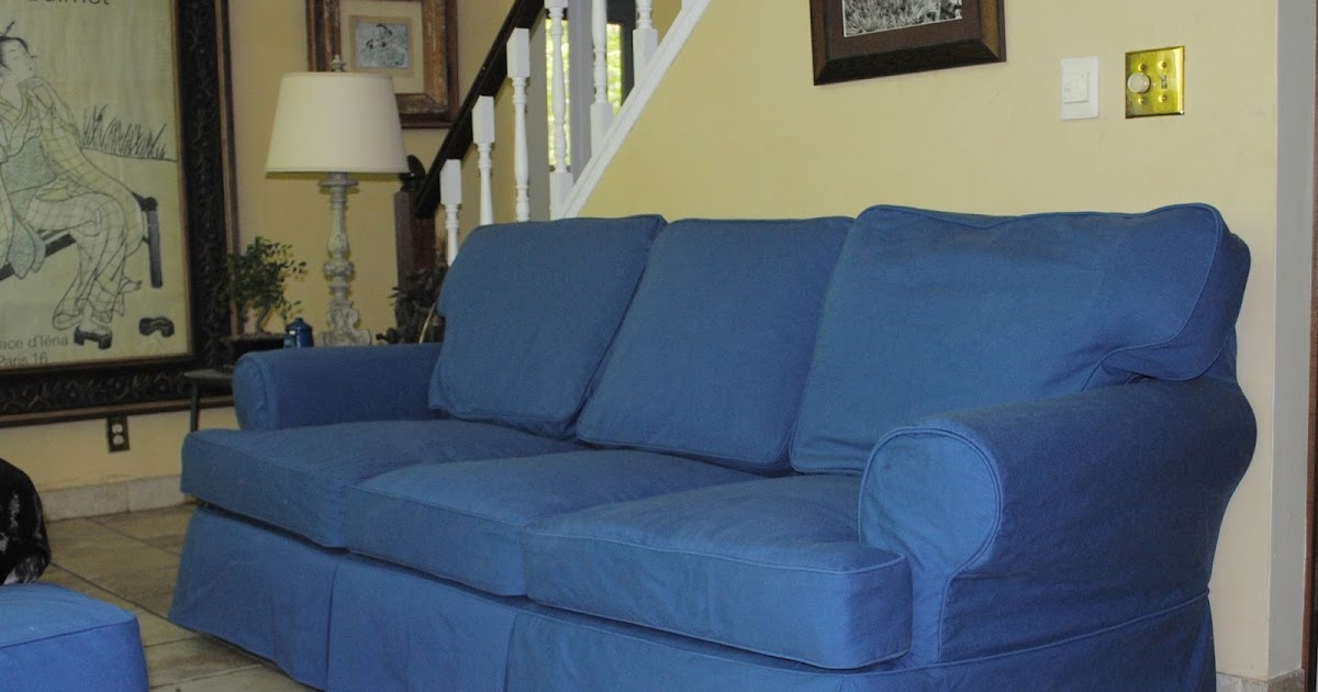 loose chair and sofa covers legs uk cozy cottage slipcovers: brown leather to blue cotton ...