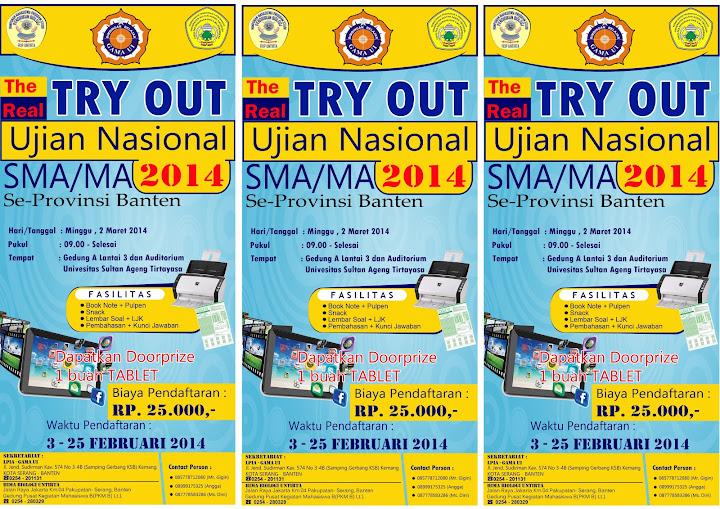 FLAYER  Try Out Ujian Nasional SMA MA 2014 Yellow