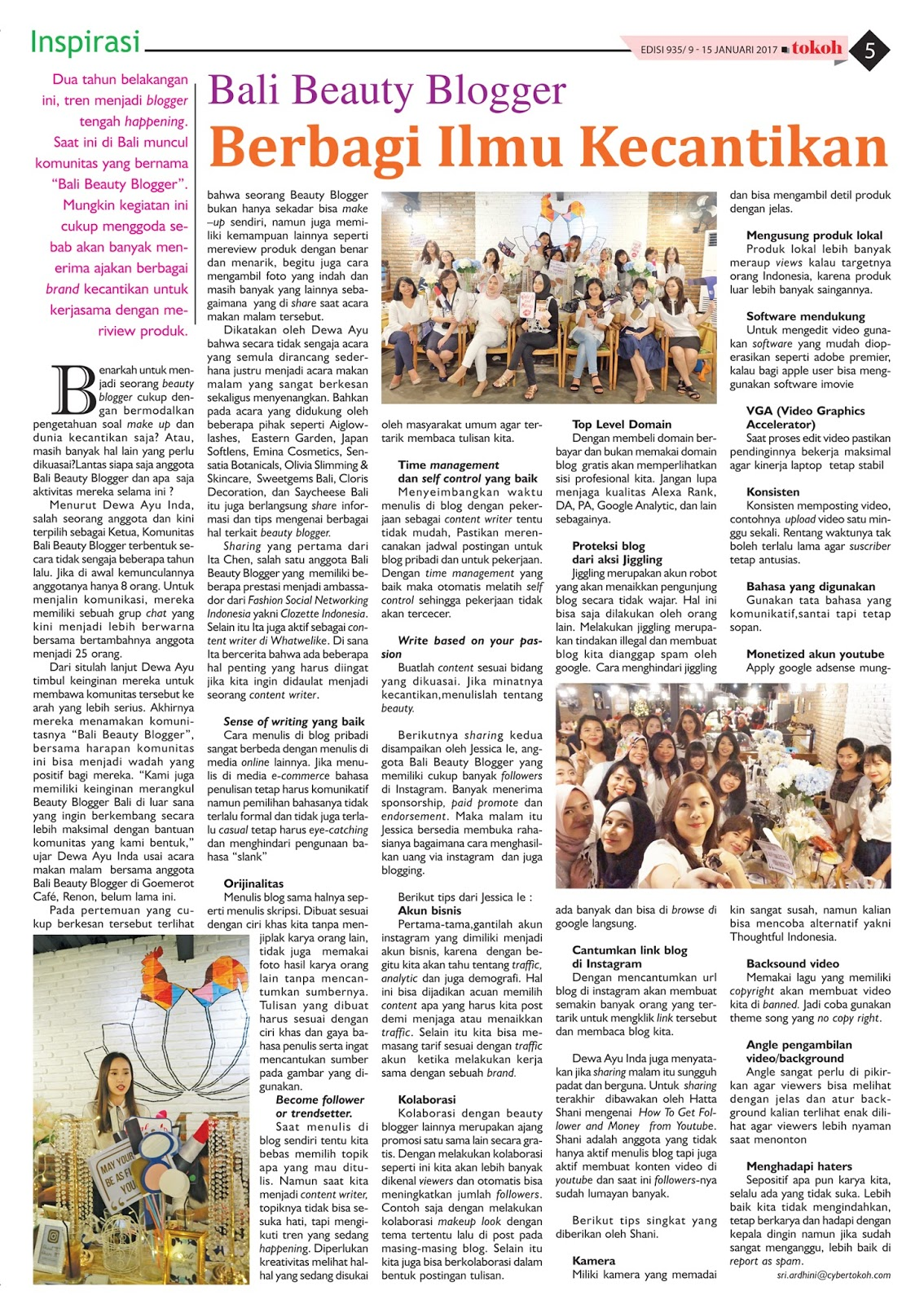 BALI BEAUTY BLOGGER FEATURED WITH TOKOH NEWSPAPER