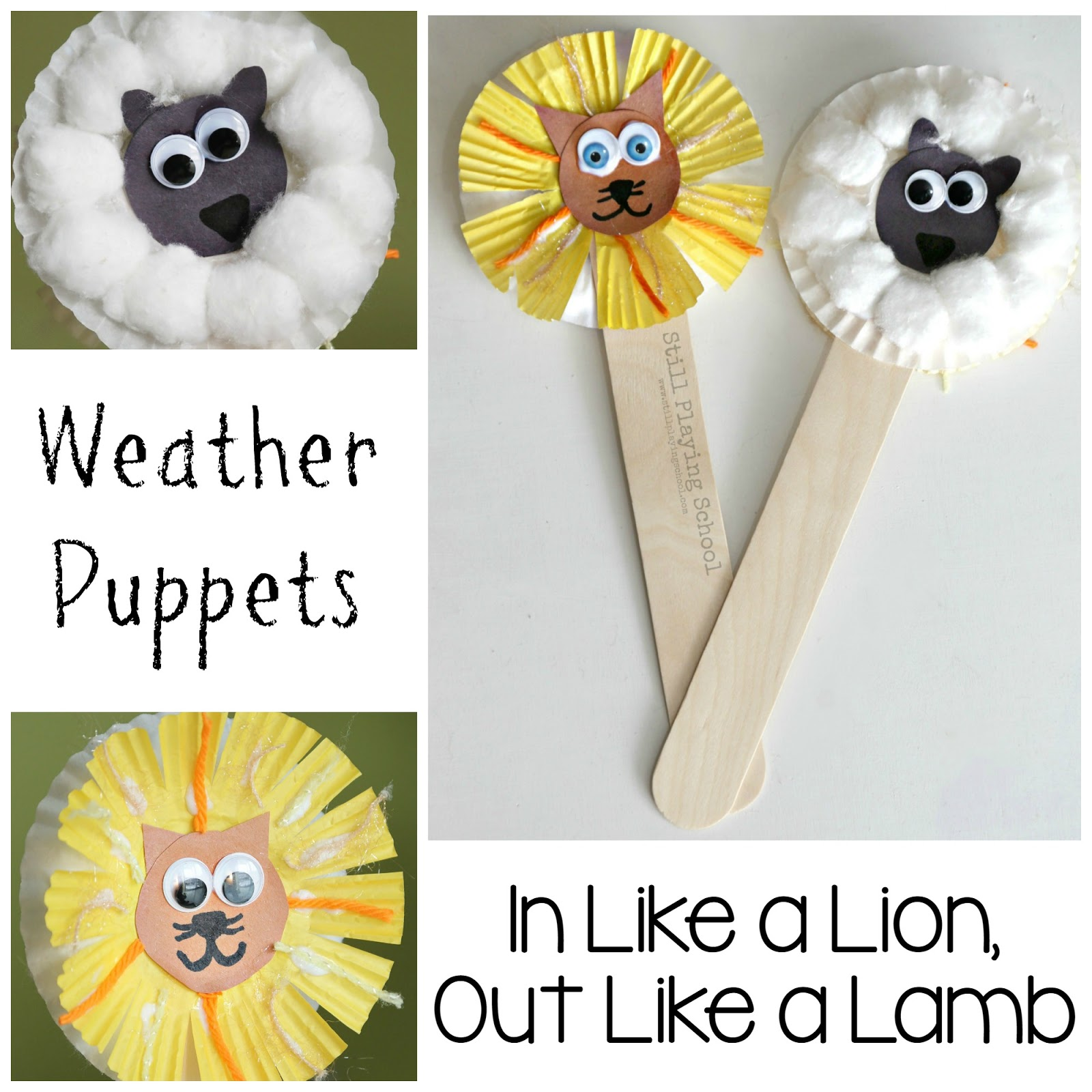 Lion And Lamb Puppets Still Playing School