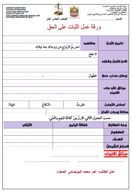 اوراق عمل متنوعة في التربية الاسلامية للصف الحادي عشر