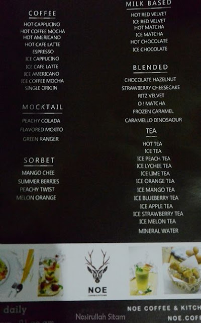 Daftar Menu di Noe Coffee & Kitchen Jogja