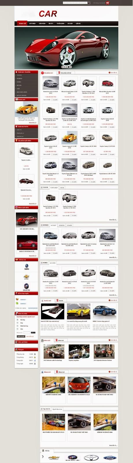 thiết kế website bán ô tô dạng 2