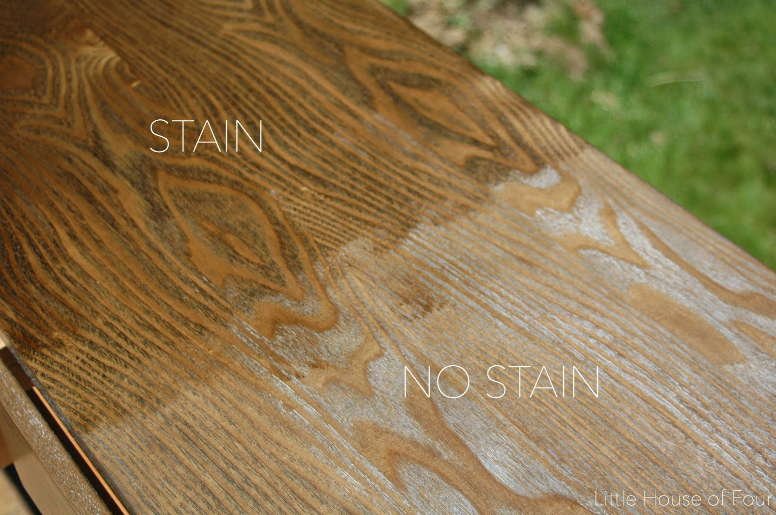 Before and after stain on console table