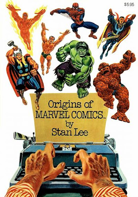 Origins of Marvel Comics, Stan Lee, John Romita cover, Fantastic Four, Sub-Mariner, Spider-Man, Dr Strange, Hulk, typewriter, hands