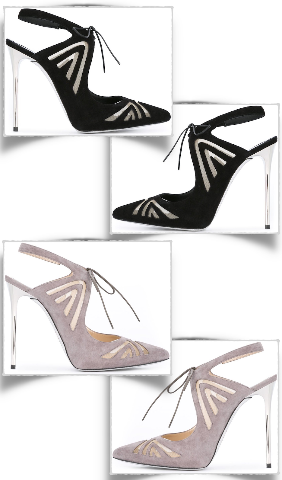 RENÉ CAOVILLA Mesh Insert Stiletto Pumps in Grey and Black
