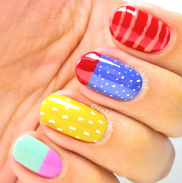 Skittle Colourful Nails