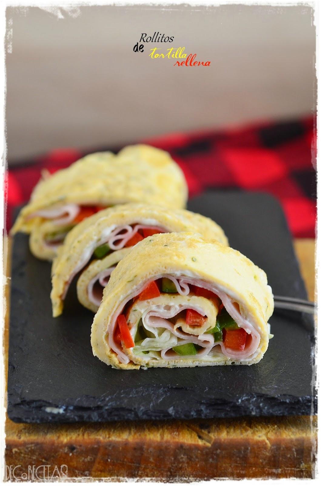 Rollitos de tortilla rellena