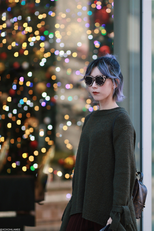 Japanese Fashion Blogger,MizuhoK,20191208OOTD, ZARA= knit sweater,pleated pants, SheIn=sock boots, LOUIS VUITTON=mini backpack, zeroUV=sunglasses,