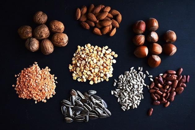 beans, lentils, nuts