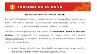 Lakshmi vilash bank po jobs