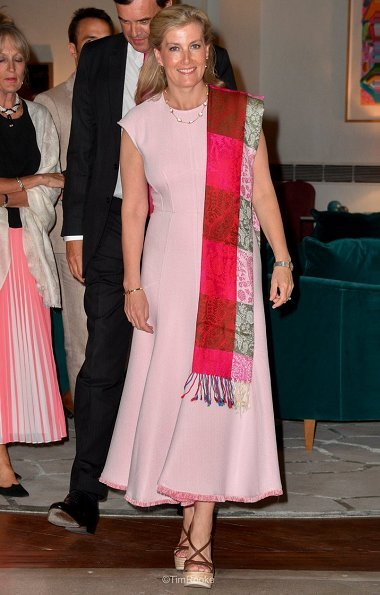 The Countess visited the United Services Institution of India in New Delhi. Sophie Habsburg clutch, Max Mara cady midi dress