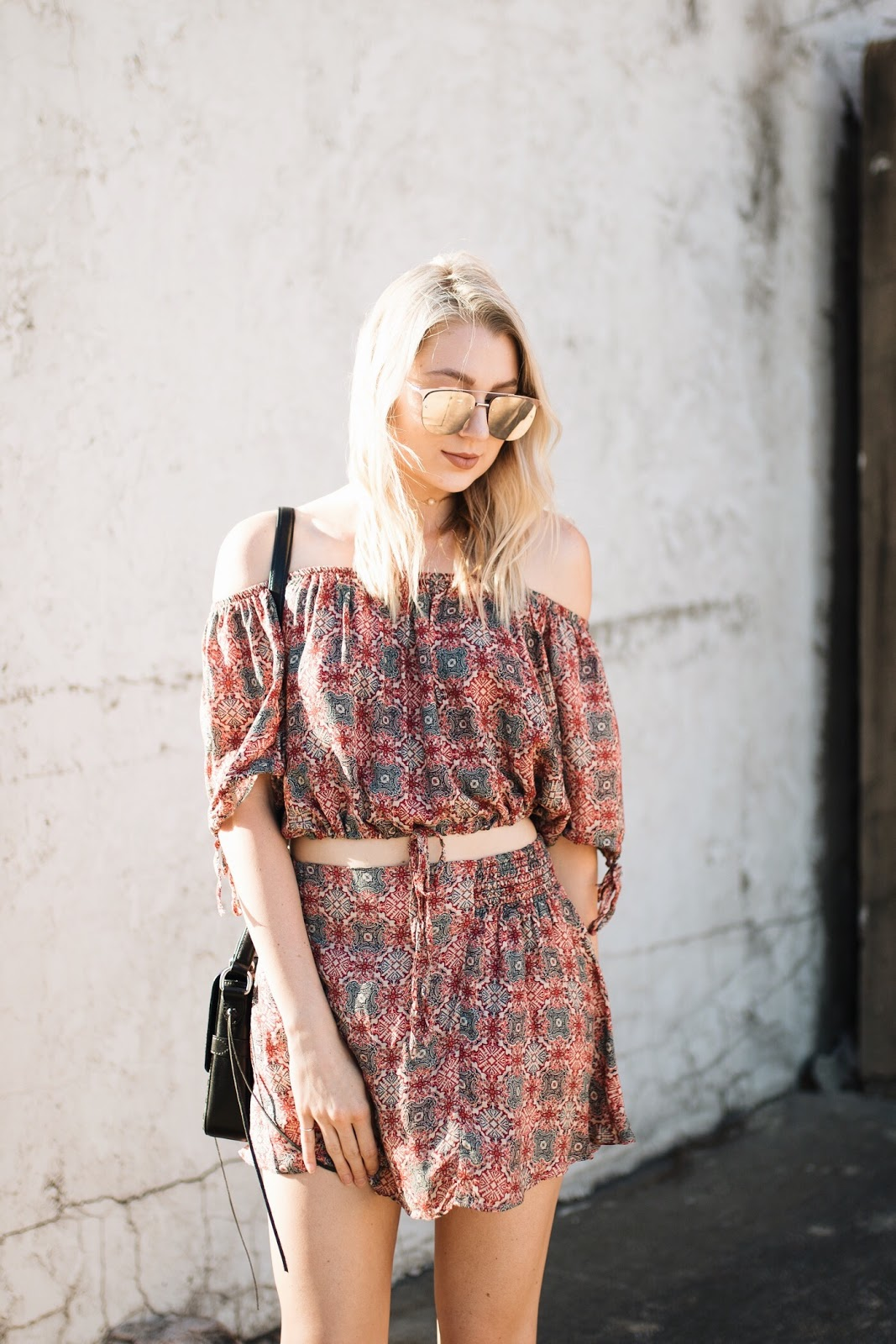 Free People set | off-the-shoulder top with a matching skirt