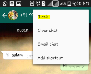 Blocking whatsapp contacts