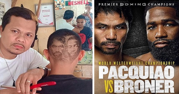 "Barber's ""Pacquiao vs. Broner"" poster hair art impresses netizens"
