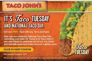 Taco Johns coupons for april 2017