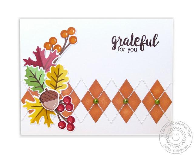 Sunny Studio Stamps: Autumn Splendor Fall Leave Argyle Card by Mendi Yoshikawa