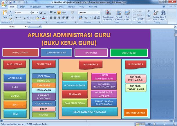 Aplikasi Administrasi (Buku Kerja) Guru Kurikulum 2013 Format Microsoft Excel