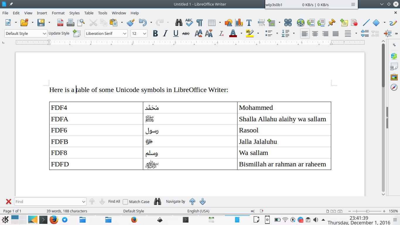 Writing Arabic Islamic Symbols In Libreoffice Writer Unicode
