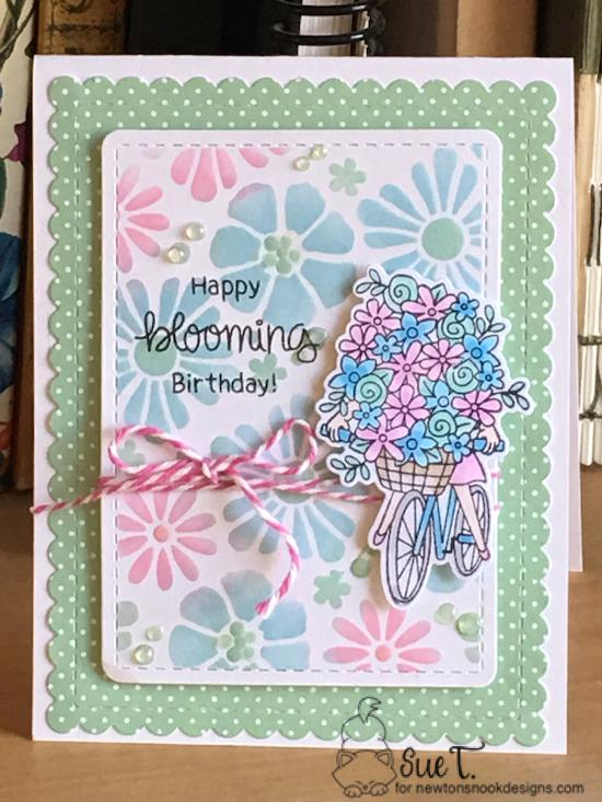 Happy blooming birthday by Sue features Loads of Blooms, Bold Blooms, and Frames & Flags by Newton's Nook Designs; #newtonsnook