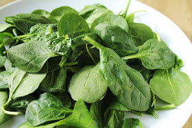 plate of baby spinach leaves