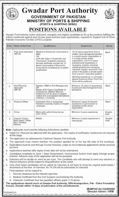 Government Jobs in Gwadar Port Authority Pakistan