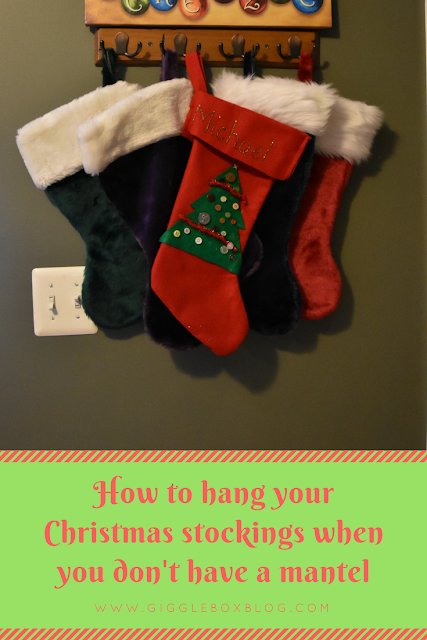 Christmas, hanging Christmas stockings idea, how to hang Christmas stockings without a mantel, Christmas decor,