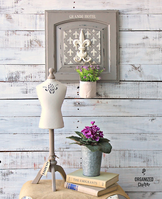 French Style Repurposed Cabinet Door #stenciling #repurposing