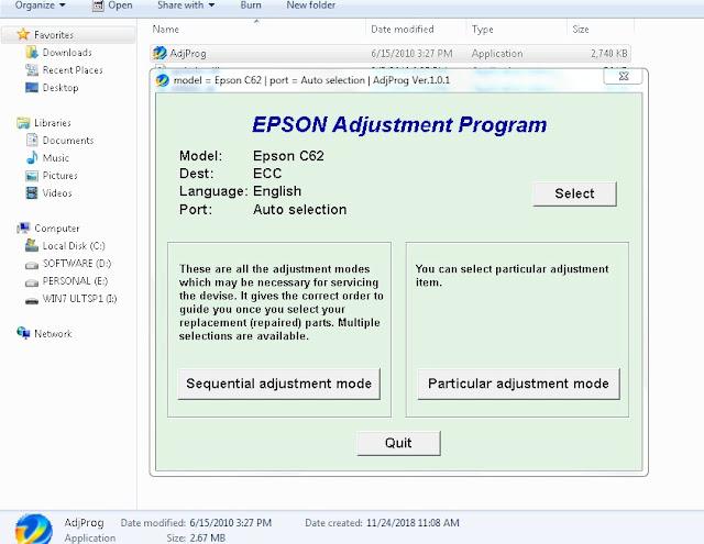 Resetter Epson Stylus C62