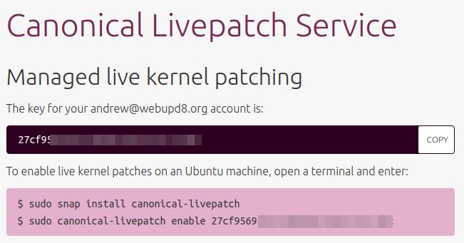 Resultado de imagem para Canonical Livepatch Service