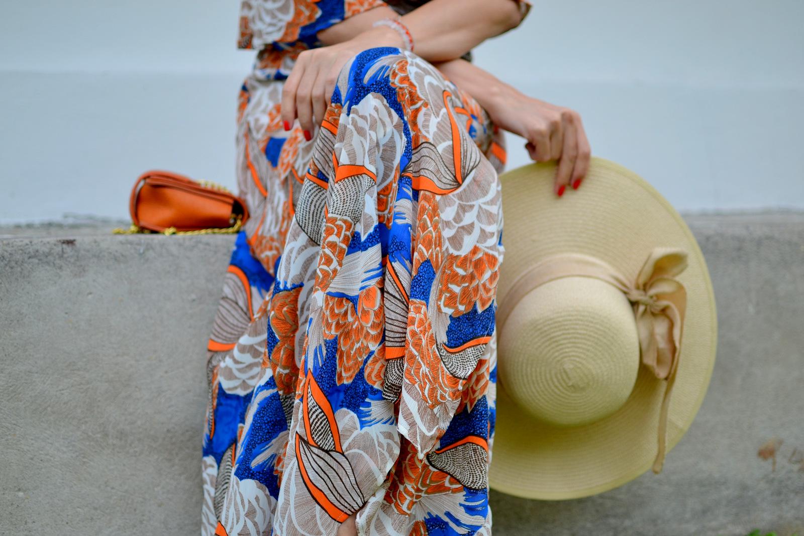 orange-blue maxi wrap dress
