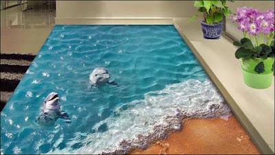 porcelanato liquido com desenho de praia e golfinhos
