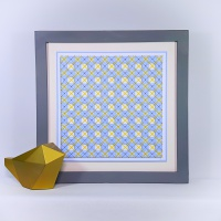 Geometric blue and yellow shadow effect stitching on card paper pricking embroidery pattern for framed wall art picture making.