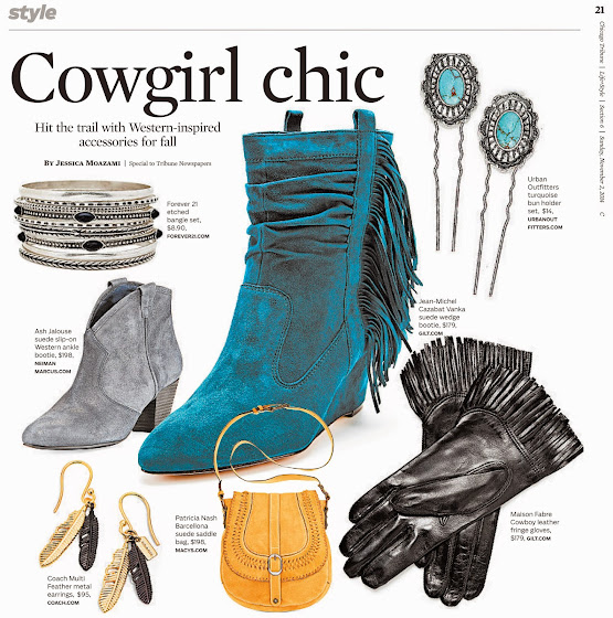 Chicago Tribune cowgirl chic trend page by Jessica Moazami