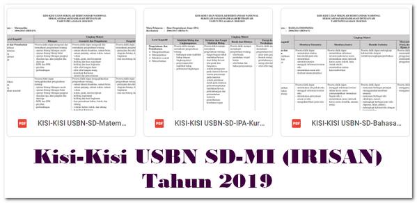 Kisi-Kisi USBN SD-MI (IRISAN) Tahun 2019