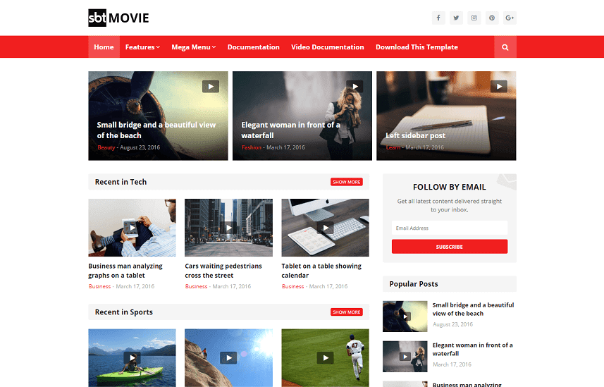SBT Movie - Responsive Blogger Template for Videos