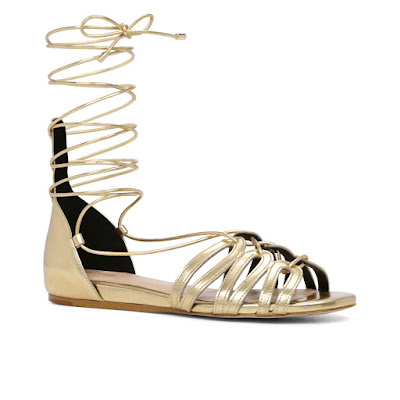 Aldo Elireven gold Flat Lace up Metallic Sandals